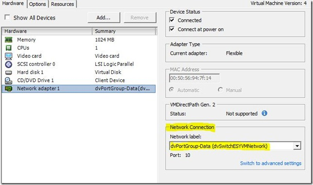 VM Network Adapter Settings